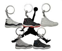 Free Shipping 6pcs/lot Jordan X AJ10+XI AJ11 Generation Men's Sneaker Shoes Silicone Rubber Ring Keychain Novelty Gift Wholesale