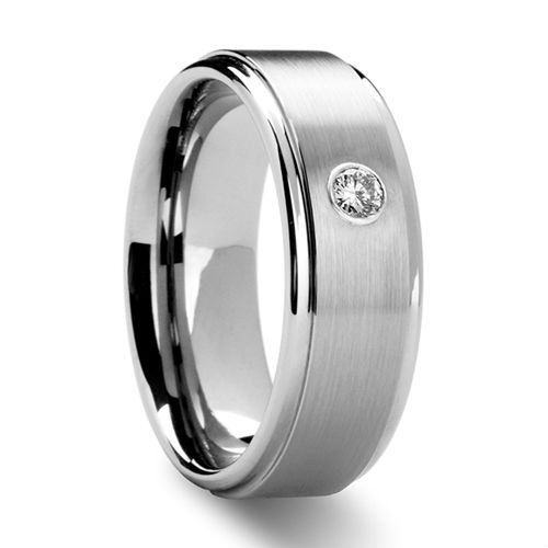 Tailor Made Mens Grooved Tungsten Ring w CZ Cubic Zirconia Stone US Size 4 18 whole