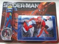 Free shipping 3PCS Spiderman watch cartoon watches  + wallet children watch,Fashion purse Christmas gifts
