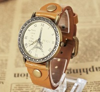 New 2014 Relogio Free Fashion Eiffel Tower Surface Fashion Women Quartz Leather Strap