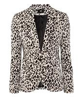 2013 New Hot Leopard Slim Suit Jacket Fashion Coats Clothing Front Pockets Back Slit Women Blazer Free Shipping Big Size Plus