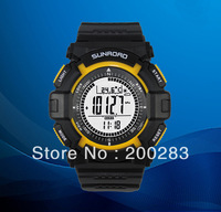 Free shipping Sunroad FR820A Yellow 3ATM Digital EL Backlit w/altimeter+barometer+compass+world time+stopwatch sport watch