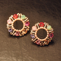 Min.order is $15(mix order) Fashion earrings for womenQuality   circle czech rhinestone  stud earring