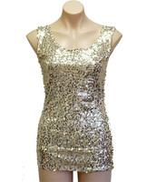 Women's Vintage Retro Sequin Tee T-shirt Singlet Party Tops Plus Size S -XXL Free Shipping LT01