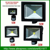 Free shipping outdoor IP66 10W 20W 30W 50W PIR Motion led sensor flood light Induction Sense detective Sensor lamp