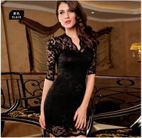 Free Shipping Ladies V-neck Mini Slim Lace cute Dress Clubwear Half Sleeves Bodycon Dress