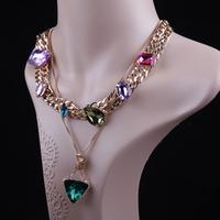 2 PCS/Set Women Lady Baroque Triangular Geometry Acrylic Gem Pendant Necklace+Color Gem Short Necklace