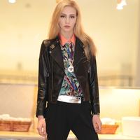2014 Autumn Leather coat women Female short design jacket  Slim leather jacket Genuine leather sheepskin  outerwear NR681