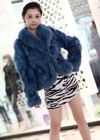 2013 New Arrival Women's Winter Warm Long Sleeve Fox Fur Coat Camel/Brown/Light Blue Sent from Russia