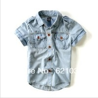 Free Shipping 2013 Supernova Sale Boys Jeans Blouse High Quality Summer Clothing Kids Denim Shirt  2-12T Children Clothing