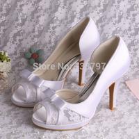 New Design High Heels Platform Pump Shoes Wedding Peep Toe Lace Bridal Shoes Free Shipping Dropship
