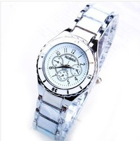 Free shipping, electronic 2014 new women dress brand white steel quartz watches .