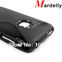 2pcs/lot(1pc tpu case+1pc clear screen protector) For iPhone 3GS Case Cover S Line Type Soft Silicone Case Protector