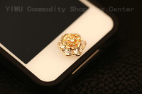 Home Button  Gold Plated Rhinestone Sticker,  Mobile Phone Decoration For  IPhONE 4s/4/5  IPad  ITouch