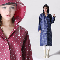Fashion Dot Outdoor Travel Women Girls Long Raincoat With Hood Design Waterproof EVA Riding Clothes Raincoat Poncho Freeshipping