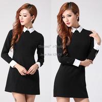 Fashion peter pan Elegant Long Sleeve Women Fit Slim Dress Lapel Zip Back novelty dress 16731
