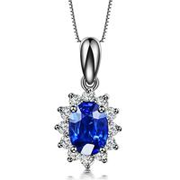 ZOCAI Brand 18K White Gold 0.5 CT certified Sri Lanka SAPPHIRE DIAMOND pendant 925 SILVER CHAIN nacklace RUBY available  D00119