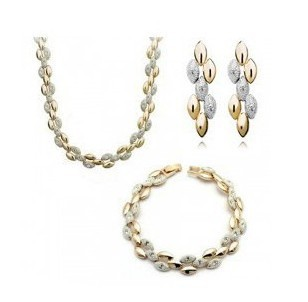 New arrival 2014 fashion gold plated bracelet earrings necklace set elegant bijuterias free shipping gifts for women