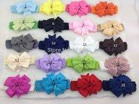 50pcs/lot 20 colors , 10.5 cm ribbon bows on crochet headbands,elastic headbands ,