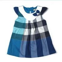 2013 Summer Children Bud Grid Dress Kids Polo Dress Baby Brand Dress Girls Fashion Striped Dresses wholesale Free Shipping