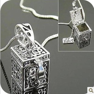 Retro Vintage 925 Sterling Silver Jewelry New Fashion Box Charms Necklaces Pendants For Women Jewelry Christmas