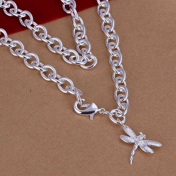 Wholesale!!Free Shipping 925 Silver Necklace,Fashion Sterling Silver Jewelry Dragonfly Necklace SMTN253