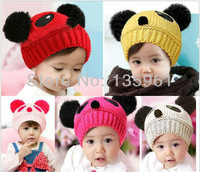 promotion ! 2013 NEW Panda shaped Lovely Boy girl Hats,winter baby hat,Knitted caps children Keep warm hat 8 color gifts