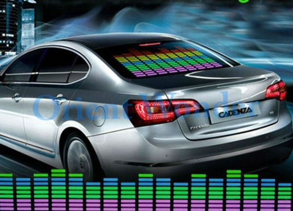 Free shipping 90*25cm Sound Rhythm Music Activated EL Equalizer Car Sticker Glow Flash Panel Multi Designs LED Price Cutting(China (Mainland))