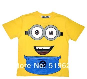 Yellow Minion  despicable Me 2 boy clothing banana summer autumn Children's Pjs Clothing t shirt minion Boys girl 6set/lot