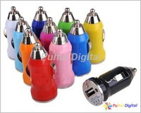 2pcs/lot Free Shipping 5V  Fashion Colorful Mini Universal USB Car Charger