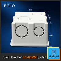 Free Shipping, Polo Back Box, 86*86MM Cassette, Universal White Wall Mounting Box for Wall Switch and Socket