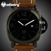 INFANTRY Royal Men's Black Dial Fashion Brown Leather Date Quartz Analog Wrist Watch NEW