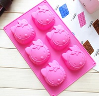 free shipping! retail 6 holes hello kitty  cake mold,cupcake,chocolate ,fondant Silicone Molds, food & soap form