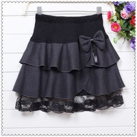 2013 Autumn winter plus size sweet bow design thick wool skirt high waist ruffles pleated skirts women mini lace skirt