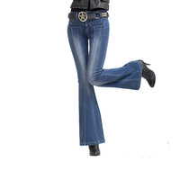 Joinus 2013 vintage big horn denim trousers embroidery high elasticity jeans female flare trousers wide leg pants