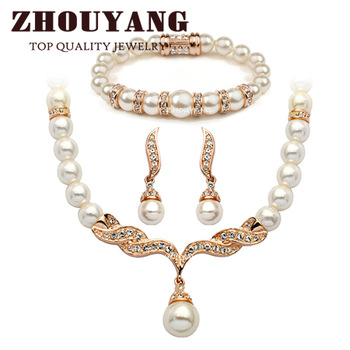Top Quality ZYS173 Imitation Pearl 18K Gold Plated Elegant  Wedding Jewelry Set Made with Austrian  Crystals