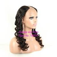"Free shipping queen hair u part wigs body wave 18"" 1B natural color u part human hair wigs for blacks in stock"