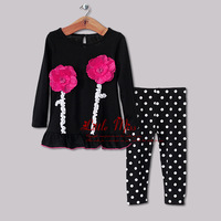 2013 New Girls Clothing Suits 2 PCS Black Coat With Red Flower And Kids Pants Children Christmas Wear Hot Sellers