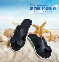 size 6.5-10 Free shipping original genuine cow leather men slippers beach casual sandals designer brand fashion slippers MS13032