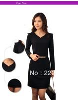 new 2014 autumn -summer long sleeve casual dress women knee-length black dresses brand sale pure color plus size items fashion