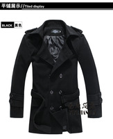 Free shipping fall and winter clothes new Korean men's windbreaker and long sections Slim woolen coat men's jackets