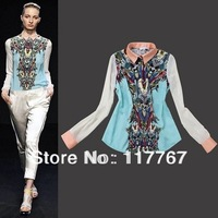 1pc 2013 New Design Women Ladies Chiffon Blouses Retro Blue Floral Printed Simple Long Sleeve Shirts Casual Tops S/M/L 652882