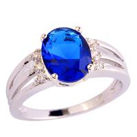 Wholesale Oval Cut Sapphire Quartz & White Sapphire 925 Silver Ring Size 6 7 8 9 Alluring Jewelry Gift