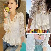 Skinny Shoulder Pad Precious Mosaic Lace Shirt Cardigan Sunscreen Shirt 5123