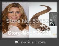 "Peruvian virgin hair micro loop hair extensions100Stands AAAAA+ 20"" Human Hair Extension Micro Loop Ring Hair 1g #6 Medium Brown"