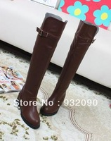 Fashion over knee boots flat heel Leather high boots Fall and winter Plus velvet