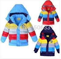 Children's down coats boy's down coat boys striped outerwear boys coloured winter coat  free shipping