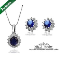 Hot Selling 2014 Elegant William and Kate Royal Blue Wedding Necklace Sets Fashion Jewelry Set Free Shipping
