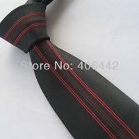 Yibei Coachella Ties Black With Red Stripe Jacquard Woven Necktie Fashion Gravata Formal Neck tie For Men dress Party