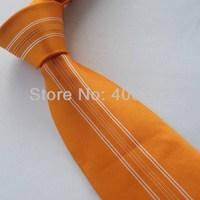 Yibei Coachella Mens Ties Orange With White Stripe Jacquard Woven Necktie Fashion Gravata Formal Neck tie For Men dress Party